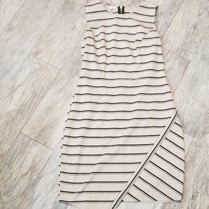 Casual cream and black striped dress